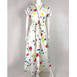 Vintage Jolie Ture Printed Semi Sheer Wrap Dress